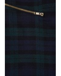 TOPSHOP Green Check Zip Wrap Aline Skirt