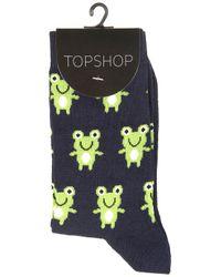 TOPSHOP Blue Cute Frog Ankle Socks