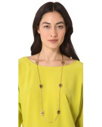Tory Burch Metallic Gingham Rosary Necklace