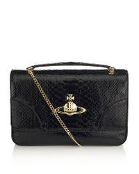 Vivienne Westwood Black Frilly Snake Shoulder Bag