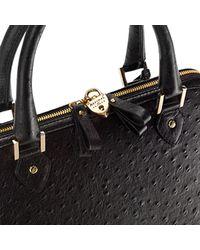 Aspinal Aspinal Of London Hepburn Leather Ostrich Print Handbag Black