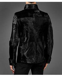 John Varvatos Black Calf Hair Pea Coat for men