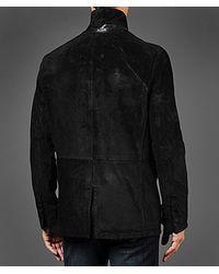 John Varvatos Black Suede Officer Jacket for men