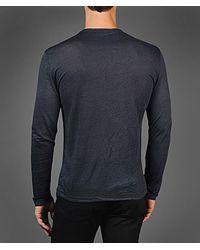 John Varvatos Gray Long Sleeve Linen Vneck for men
