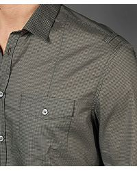 John Varvatos Gray Slim Fit Military Shirt for men