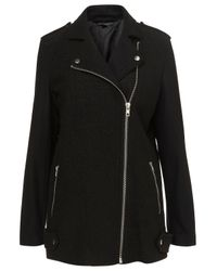 TOPSHOP Black Boiled Wool Biker Coat