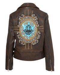 TOPSHOP Brown Embellished Hamsa Biker Jacket