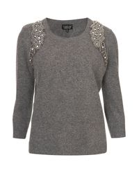 TOPSHOP Gray Mirror Embellished Jumper
