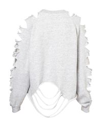TOPSHOP Gray Shredded Sweat By The Ragged Priest