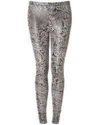 TOPSHOP Gray Shimmer Paisley Velvet Leggings