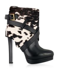 Alexander McQueen Black Animalprint Calf Hair and Leather Ankle Boots