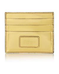 Alexander McQueen Metallic Glossed Leather Cardholder