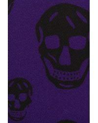 Alexander McQueen Purple Skull Print Nylon Wallet