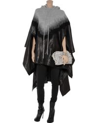 Alexander Wang - Black Hooded Wool & Leather Needle Punch Poncho - Lyst