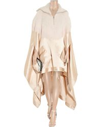 Alexander Wang - Natural Knitted and Satin Poncho - Lyst