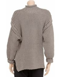 T By Alexander Wang Gray Cropped Turtle Neck Sweater