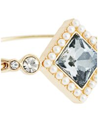 ASOS - Metallic Stone Pearl Bangle - Lyst
