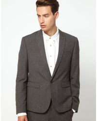ASOS Gray Asos Slim Fit Suit Jacket in Fleck Fabric for men