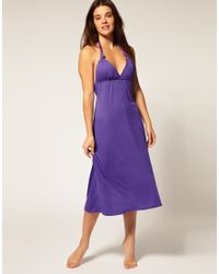 ASOS Collection | Purple Asos Jersey Grecian Midi Beach Dress | Lyst