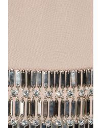 Azzaro Natural Leeloo Embellished Open-back Crepe Mini Dress
