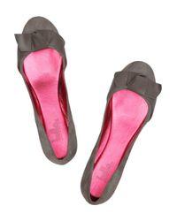 Belle By Sigerson Morrison Natural Bowembellished Suede Ballet Flats