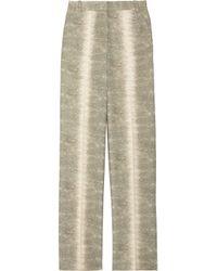 Chloé Green Snake Print Wool Wide Leg Pants