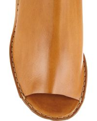 Chloé Brown Peep-toe Leather Wedges