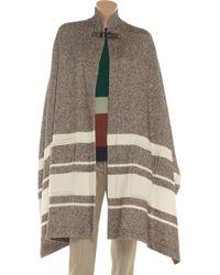 Chloé Brown Woven Woolblend Cape