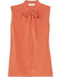 Chloé | Orange Pussy-bow Silk Crepe De Chine Blouse | Lyst