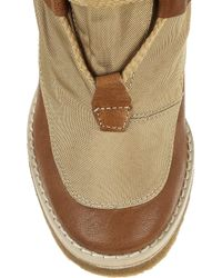 Chloé Brown Canvas and Leather Wedge Ankle Boots