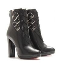 Christian Louboutin | Black Troop 120 Leather Boots with Buckle Detail | Lyst