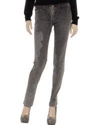 Current/Elliott Gray Distressed Mid-rise Skinny Jeans