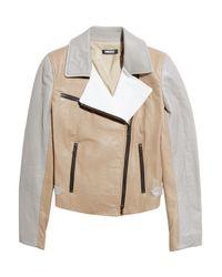 DKNY | Gray Color-block Leather Biker Jacket | Lyst