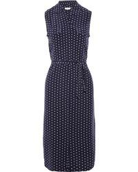 Equipment Blue Tegan Printed Washedsilk Dress