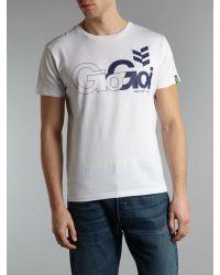 Gio Goi White Logo Fronted Tshirt for men