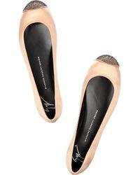 Giuseppe Zanotti Natural Malika Crystalembellished Satin Ballet Flats