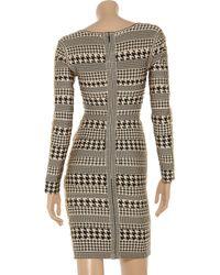 Hervé Léger Metallic Houndstooth Bandage Dress