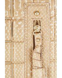 Hervé Léger Natural Embellished Pythoneffect Leather Clutch