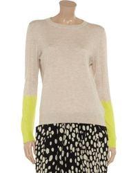 Iris & Ink Gray Colorblock Cashmere Sweater