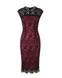 Jaeger Black Lace Overlay Dress with Pink Lining