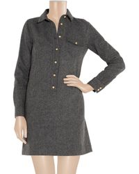J.Crew Gray Herringbone Wool Shirt Dress