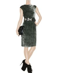 J.Crew Gray Ice Leopard Printed Velvet Dress