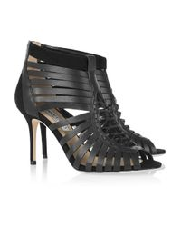 Jimmy Choo | Black Mandy Leather Cage Sandals | Lyst