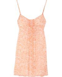 Juicy Couture | Orange Fan-print Silk-crepe Dress | Lyst