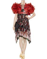 Junya Watanabe Red Faux Leather and Ruffled Organza Shrug