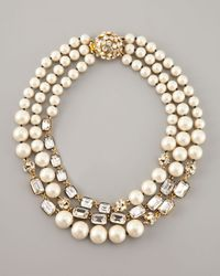 kate spade new york White Party Pearl Bead Triple Strand Necklace