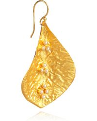 Kevia - Metallic 22Karat Gold-Plated Pearl Leaf Earrings - Lyst