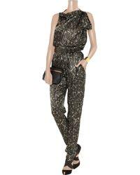 Lanvin - Metallic Ruffled Sequin-print Silk-satin Top - Lyst