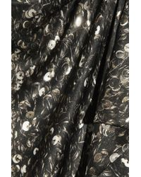 Lanvin Metallic Ruffled Sequin-print Silk-satin Top