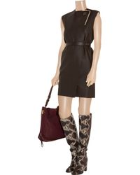 Lanvin | Brown Belted Leather Dress | Lyst